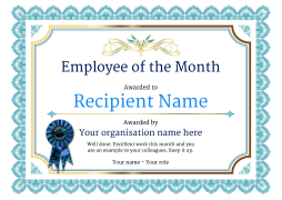 Employee of the Month Certificate - Free Well Designed Templates