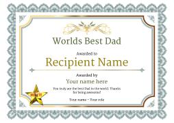 Worlds best dad certificates use free templates by awardbox vintage3 defaultwbestdad merit image yadclub Images