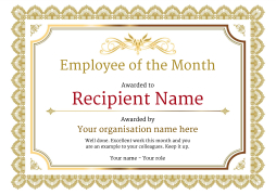 employee of the month certificate template  Employee of the Month Certificate - Free Well Designed Templates