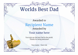 worlds best dad certificate thumbsup Image