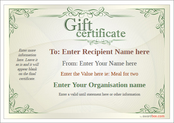 Gift certificate free high quality templates for Free customizable gift certificate template