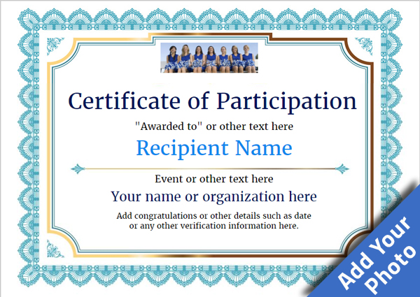 Certificate of participation template award classic style 3 blue blank thumbnailg yelopaper Images